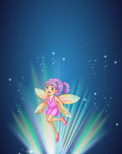 Fada fofa com asas coloridas voando à noite vetor