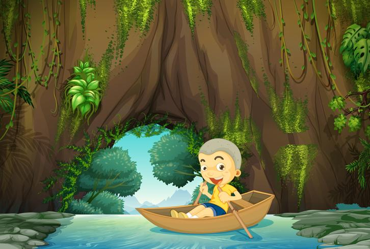 Jongen roeiboot op de rivier