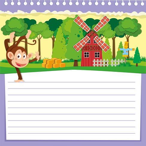 Línea de diseño de papel con mono y granero.