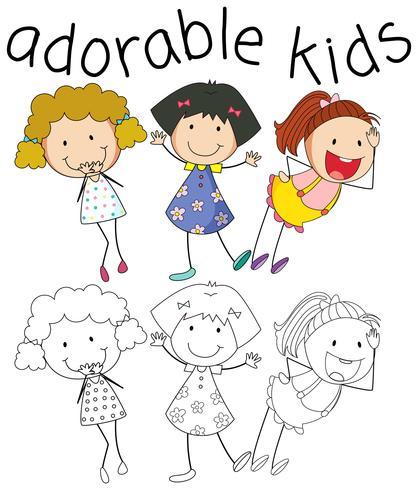 Gruppe von Doodle-Mädchen