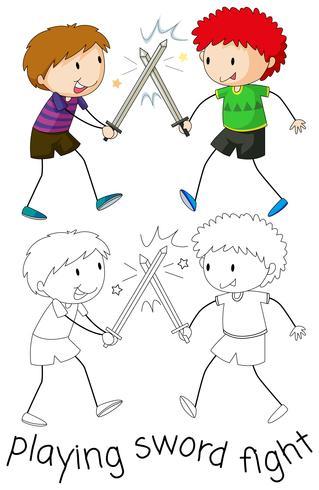 Jongen die zwaardvechten speelt