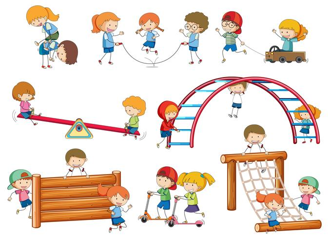 Eenvoudige kinderen doodles spelen op speeltoestellen