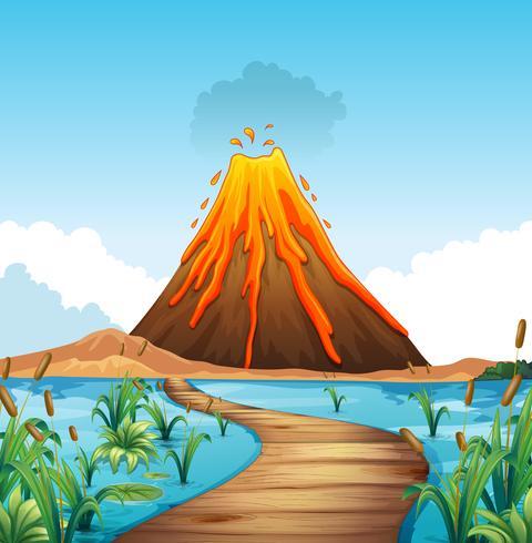 Natur scen med vulkanutbrott vid sjön