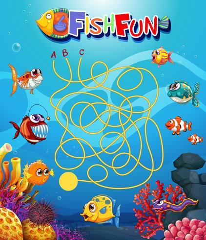 plantilla de juego de peces submarino maxe