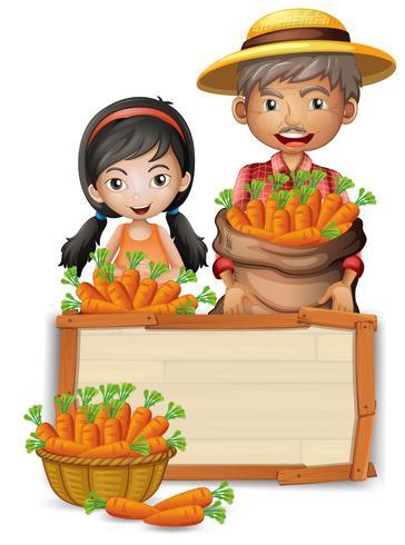 Fermier avec bannière en bois de carotte