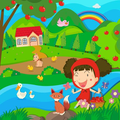Little girl and wolf by the river
