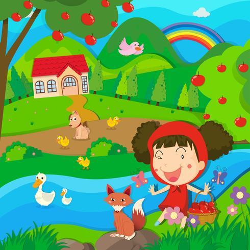 Kleines Mädchen und Wolf am Fluss