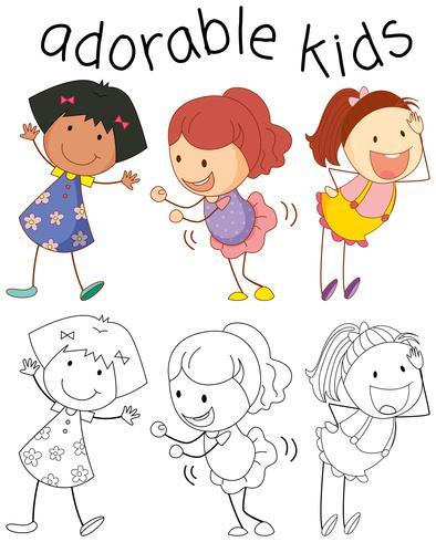 Groep doodle schattige kinderen