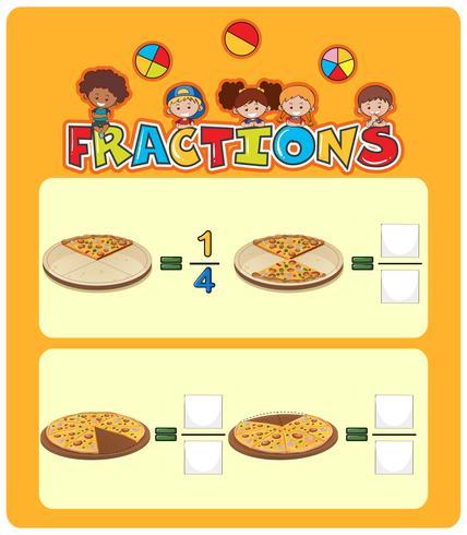 Foglio di lavoro di matematica frazioni di pizza