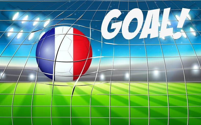 Una bandiera francese sul pallone da calcio vettore