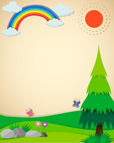 Cena da natureza com campo e arco-íris