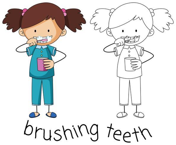 Doodle afbeelding van tandenpoetsen