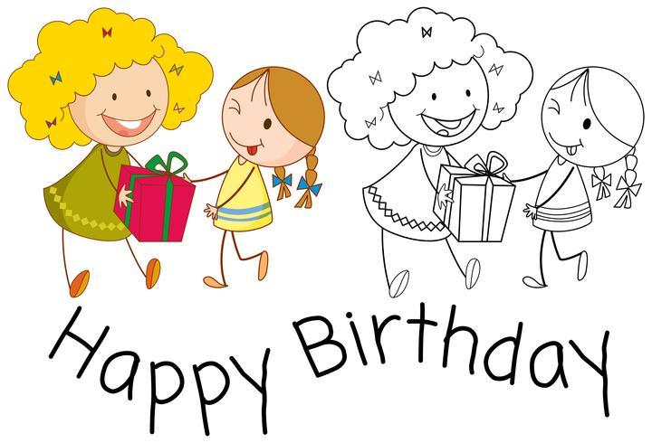 Gekritzelmädchen feiern Geburtstag