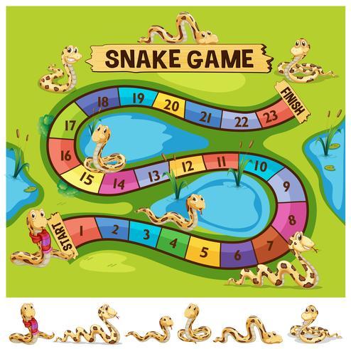 Brettspielvorlage mit Schlangen kriechen