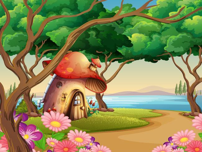 Casa de cogumelo à beira do lago