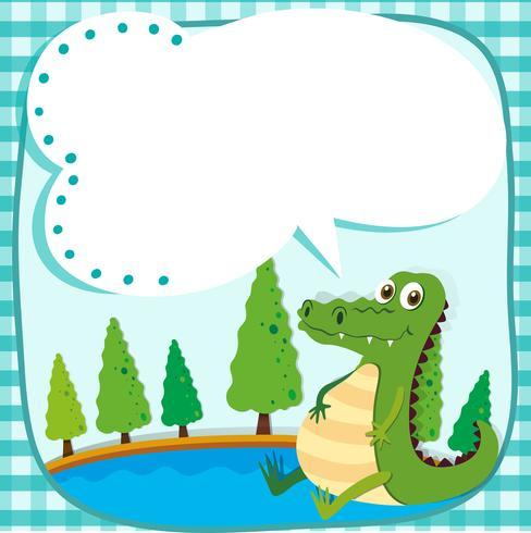 Border design with crocodile and pond