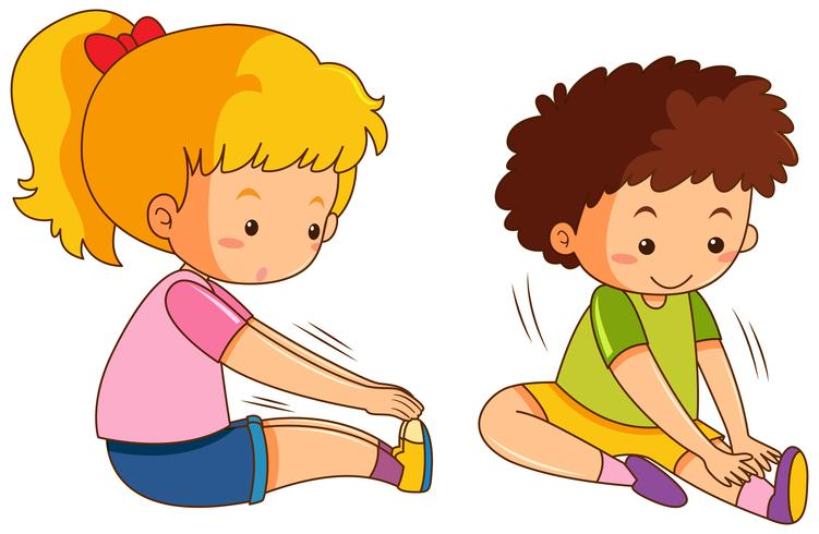 Garçon et fille exercent sur fond blanc