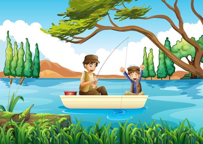 Vater und Sohn im See angeln