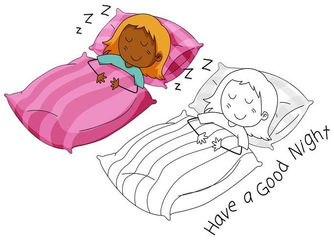 Doodle Mädchen Charakter schlafen