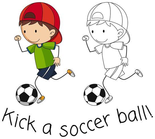 Doodle boy playing football