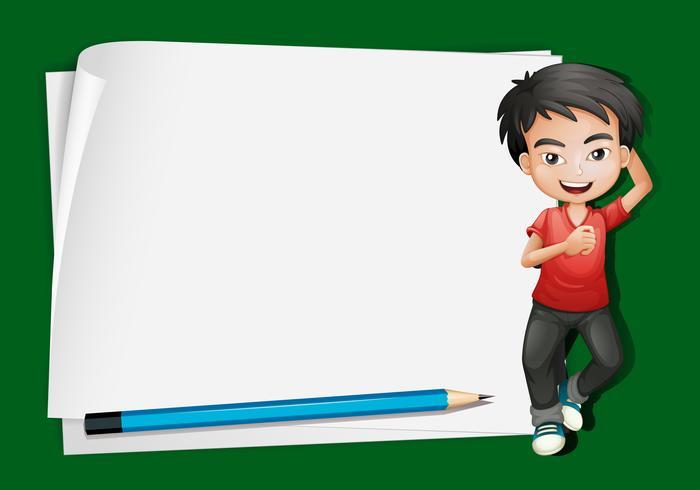 Papierschablone mit glücklichem Jungen und Bleistift