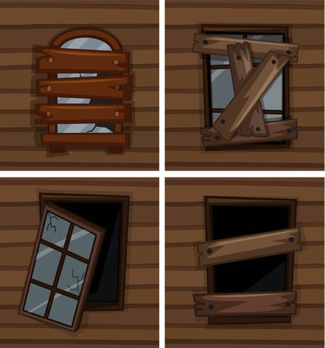 Zerbrochene Fenster auf Holzwand