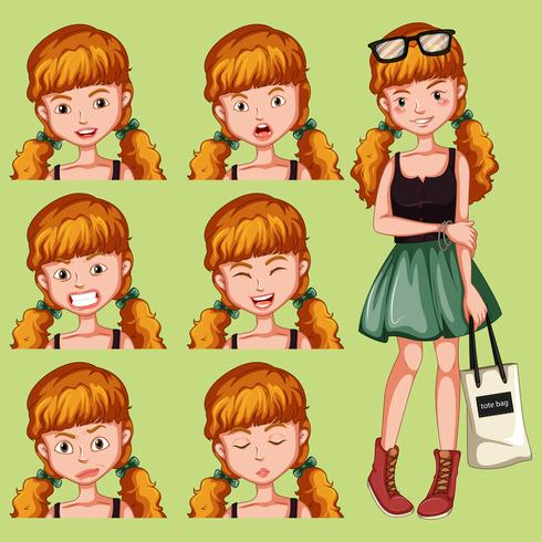 Girl with diffrent facial expression