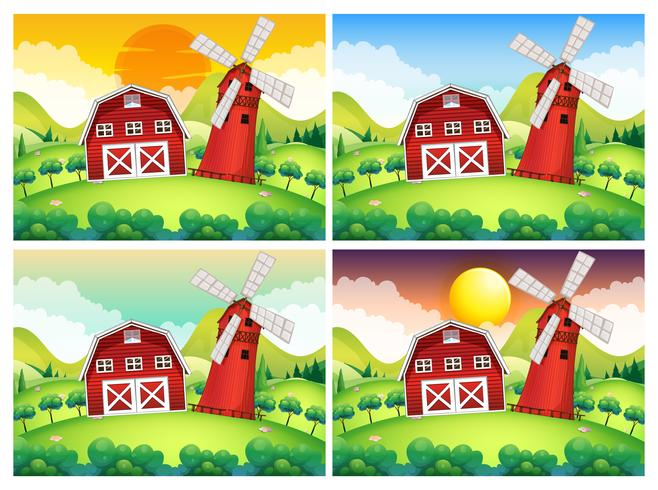 Scene with barn and windmill at day and night