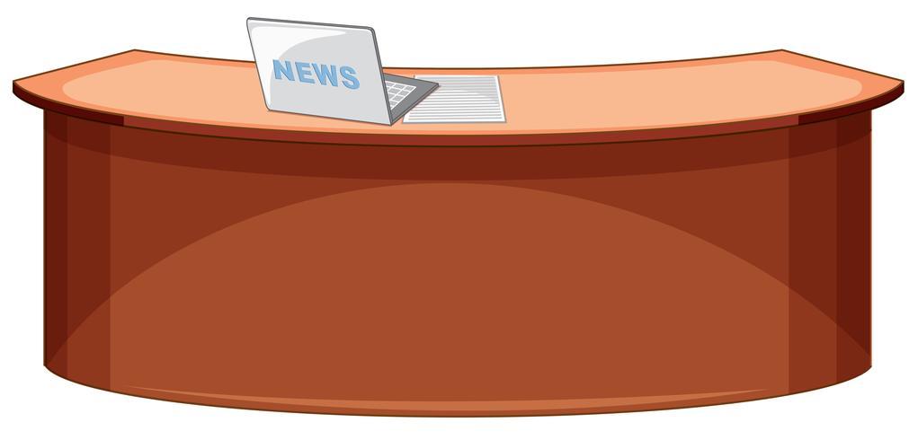 An empty news studio desk