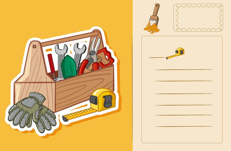 Ansichtkaartsjabloon met toolbox en hulpmiddelen