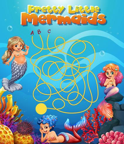 Mooi klein zeemeermin doolhofspel