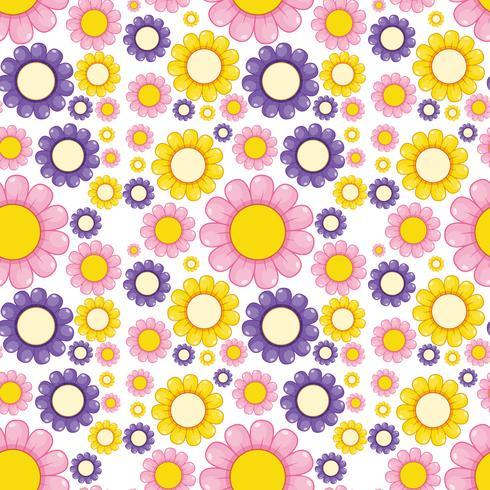Vlakke bloem naadloze patroon