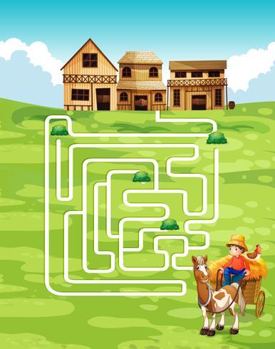 Spielvorlage mit Landwirt und Bauernhof