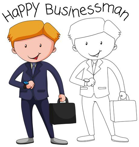 Doodle businessman character in suit with briefcase