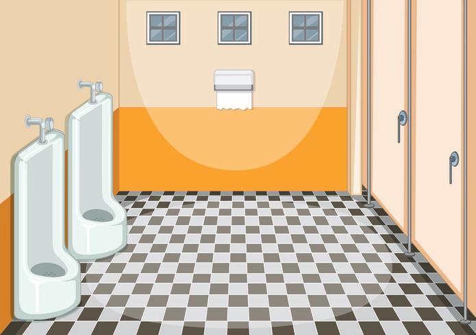 Diseño interior del baño masculino.