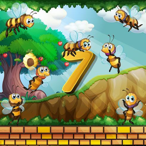 Número sete com 7 abelhas voando no jardim