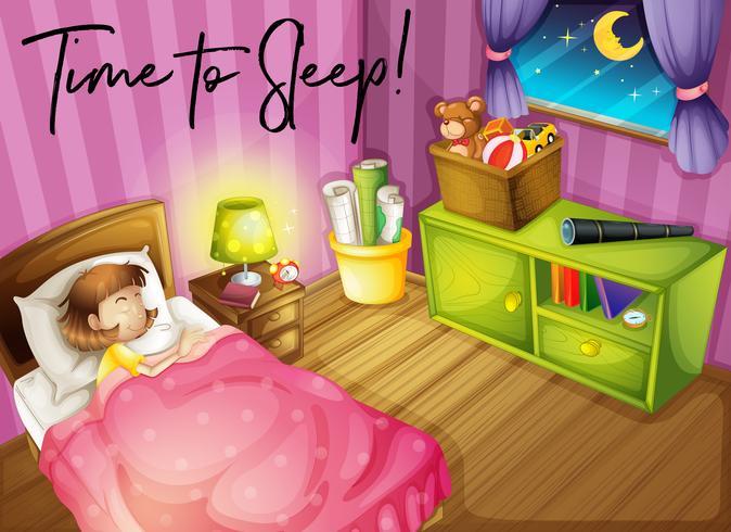 Chica en la cama y palabras para dormir.