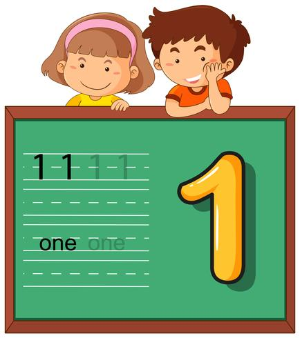 Boy and girl with number one