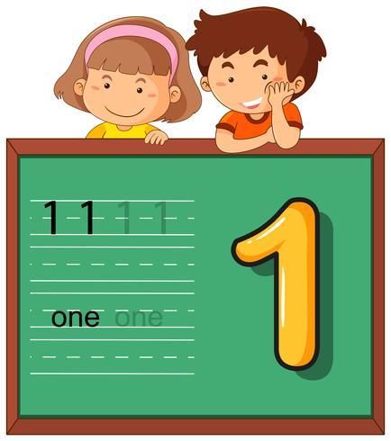Junge und Mädchen mit Nummer eins