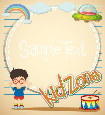 Border design with boy and  toys