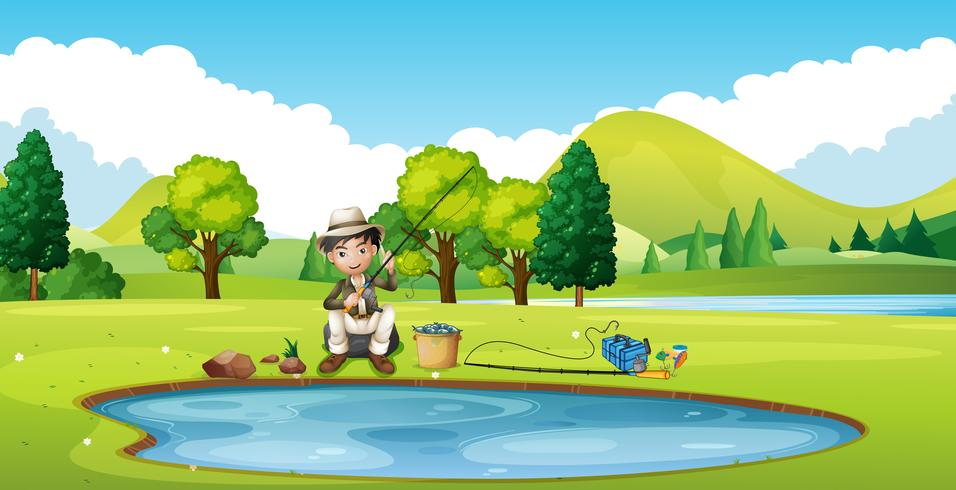 Scene with man fishing by the pond