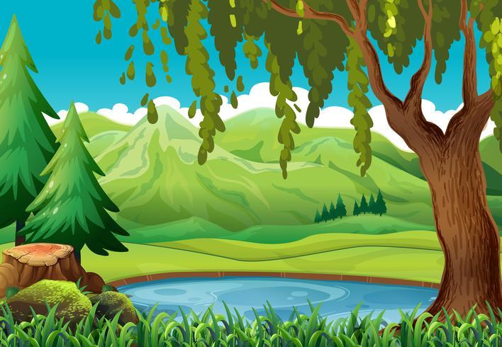 Szene mit Bergen und Teich