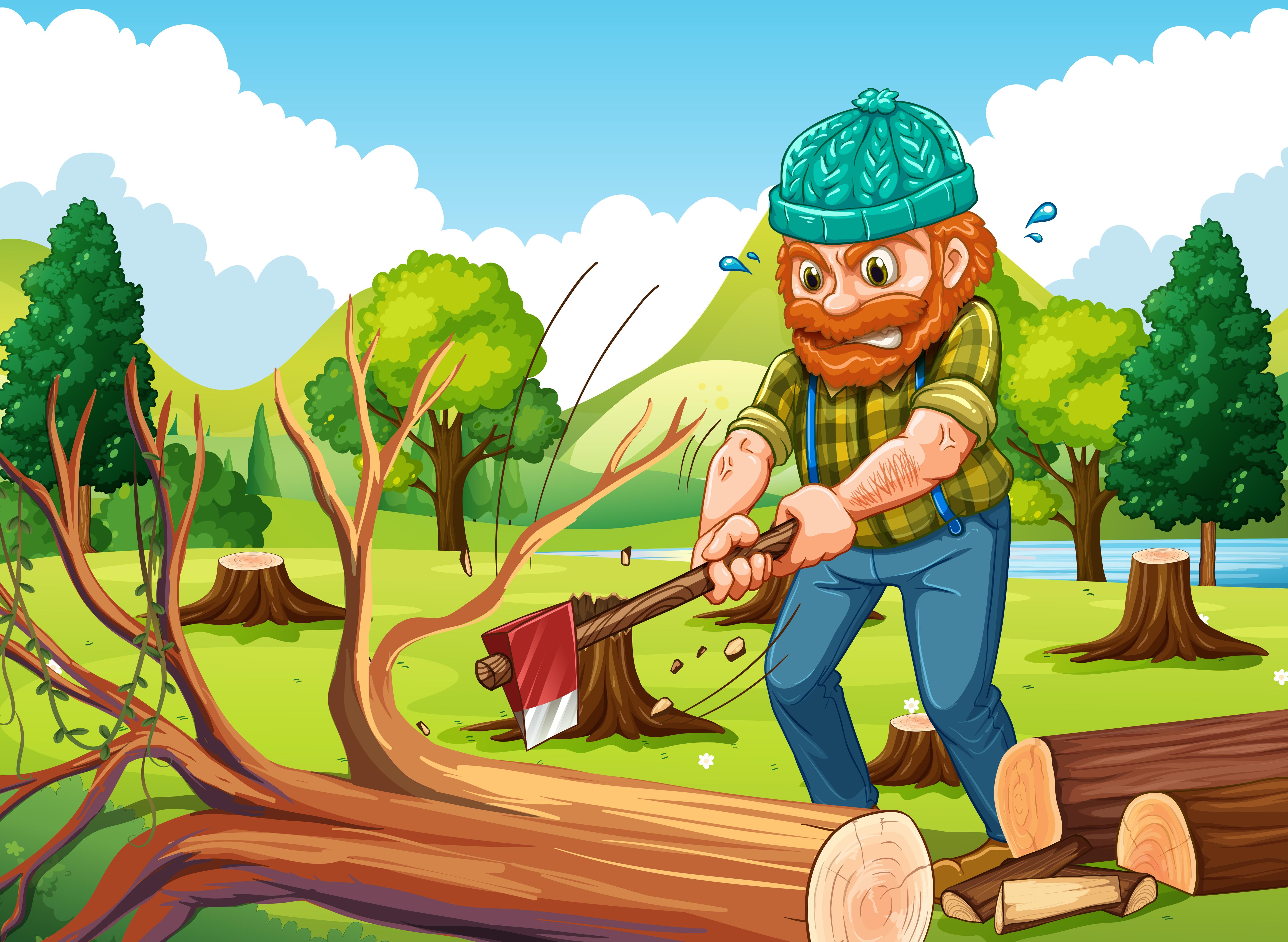 Картинка лесоруб рубит дерево