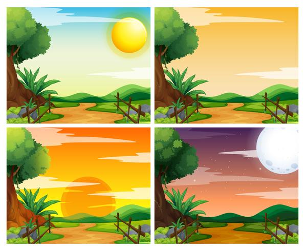 Four scenes of sunset in countryside