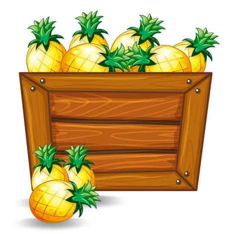 Abacaxi em banner de madeira