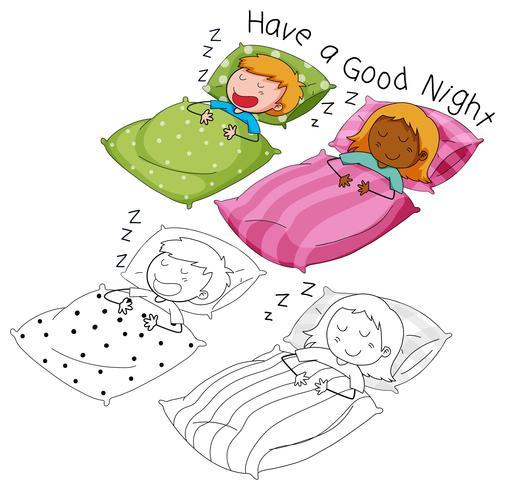 Doodle Jungen und Mädchen schlafen