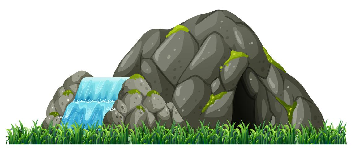 Isolated nature cave on white background