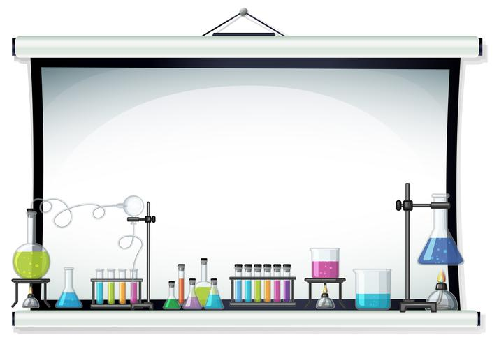 Projector screen with laboratory equipment