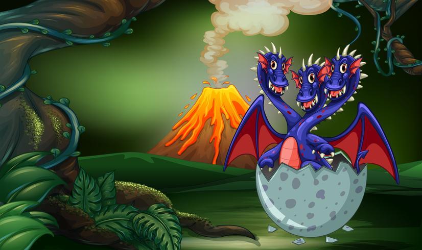 Dragão com três cabeças no ovo