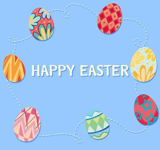 Glückliches Ostern-Plakat mit verzierten Eiern